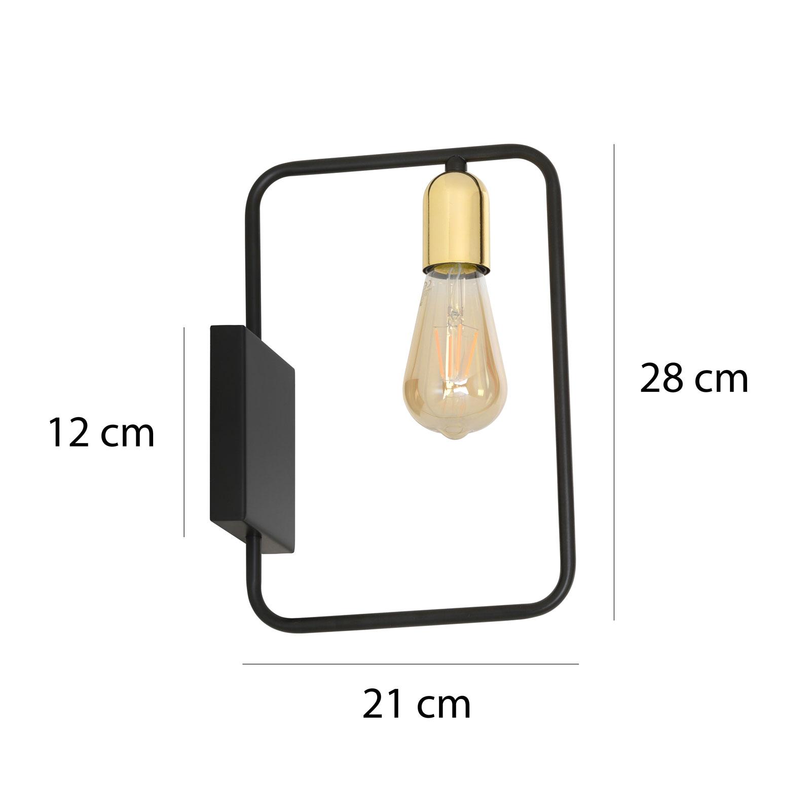 Wandlamp Savo K1 met metalen frames, zwart-goud