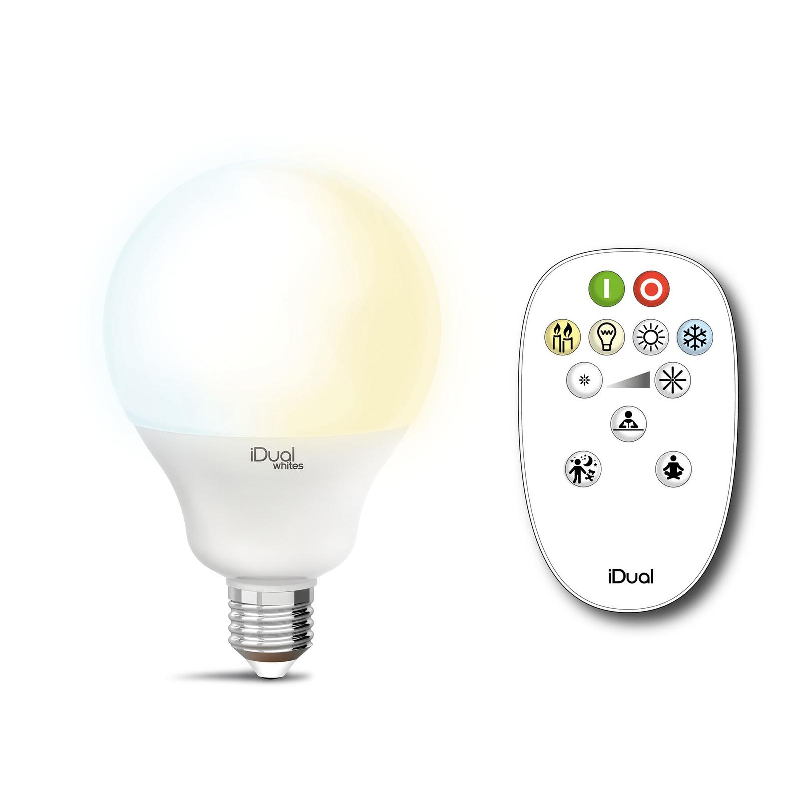iDual Whites Globe E27 G100 12,5W, télécommande