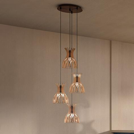 Bover Domita S/20/4L hanglamp, bruin/beuken