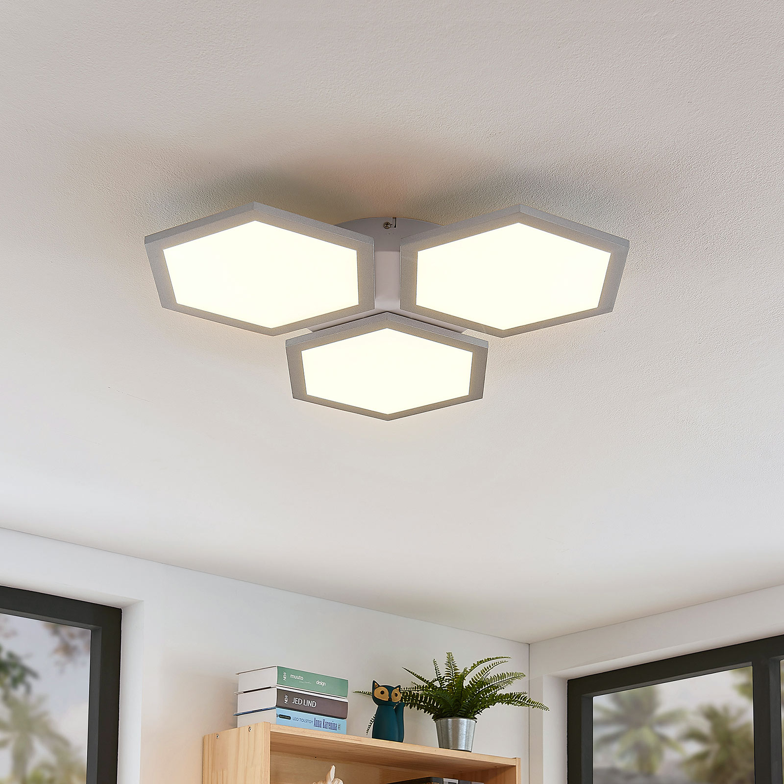 LED plafondlamp Leas, dimbaar, CCT, 3 lampjes