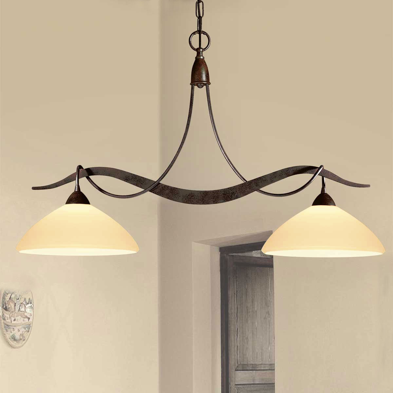 2-punktowa lampa wisząca Samuele, kremowa