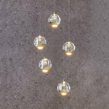 LED-riippuvalo Hayley 5-lampp. pyöreä kulta
