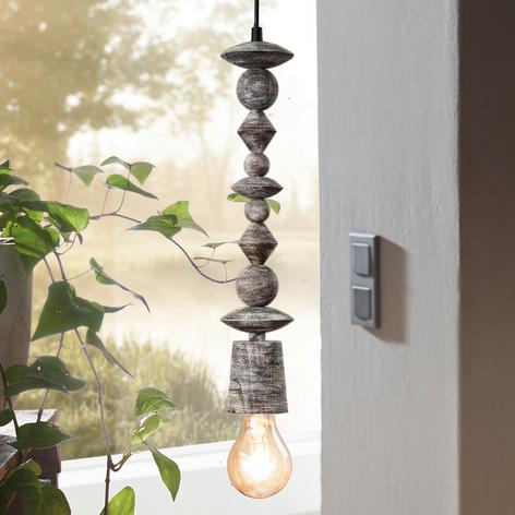 Lámpara colgante de madera Avoltri pátina negra