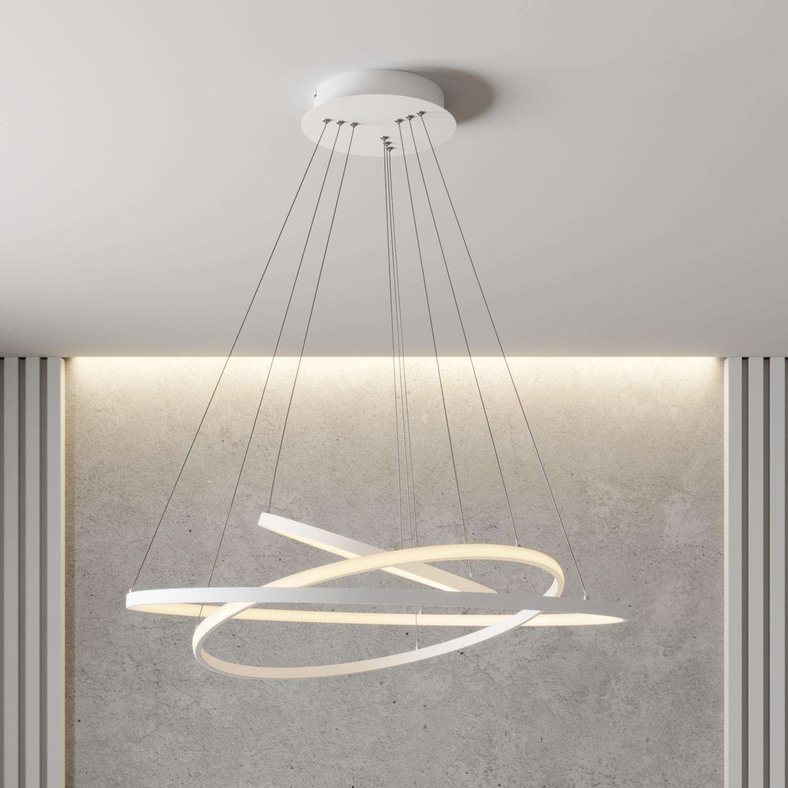 Lámpara colgante LED Ezana tres anillos, blanco