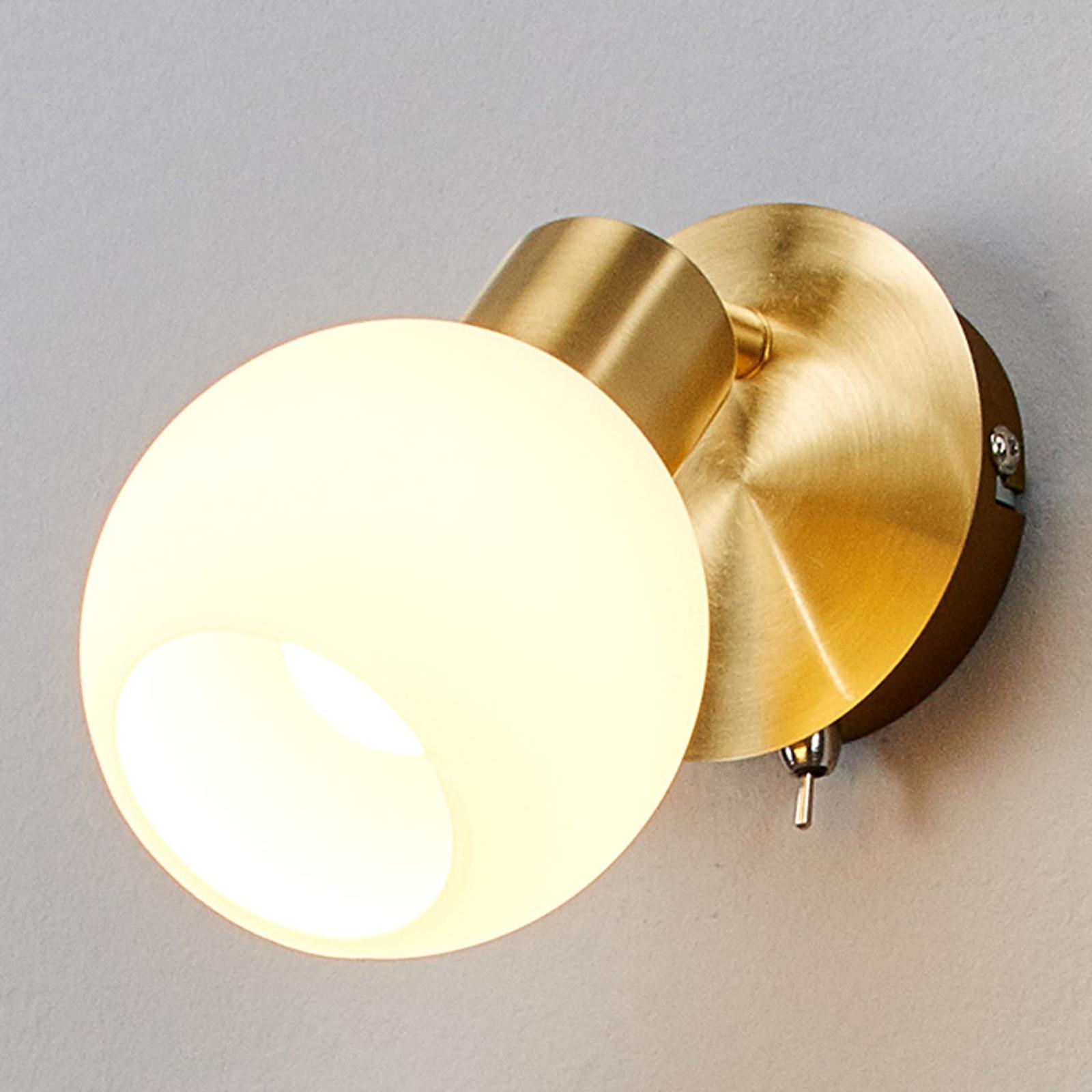 Jednopunktowa lampa ścienna LED ELAINA, mosiężna