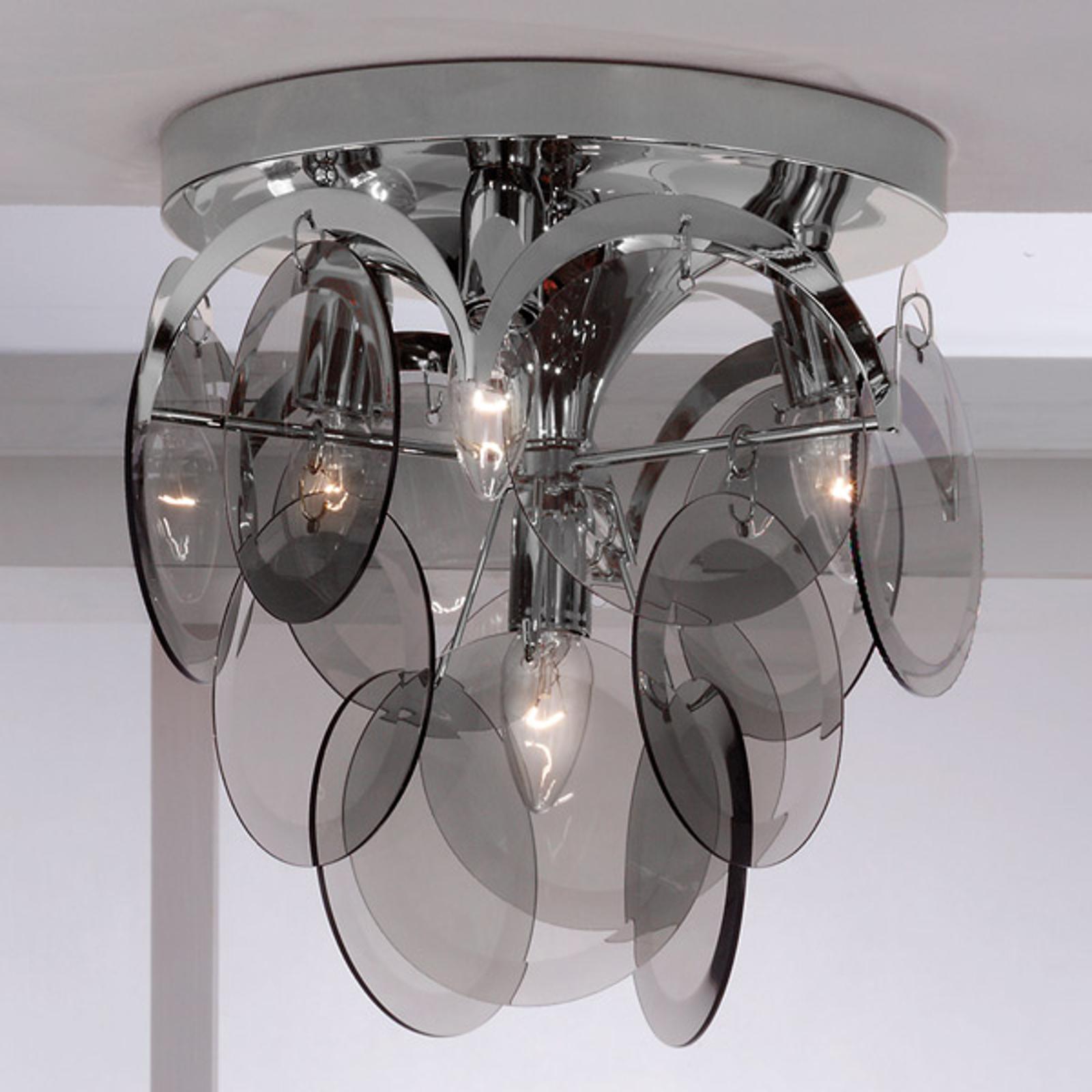 Pyntende røgglas - loftslampen Carolo, 4 lysk.