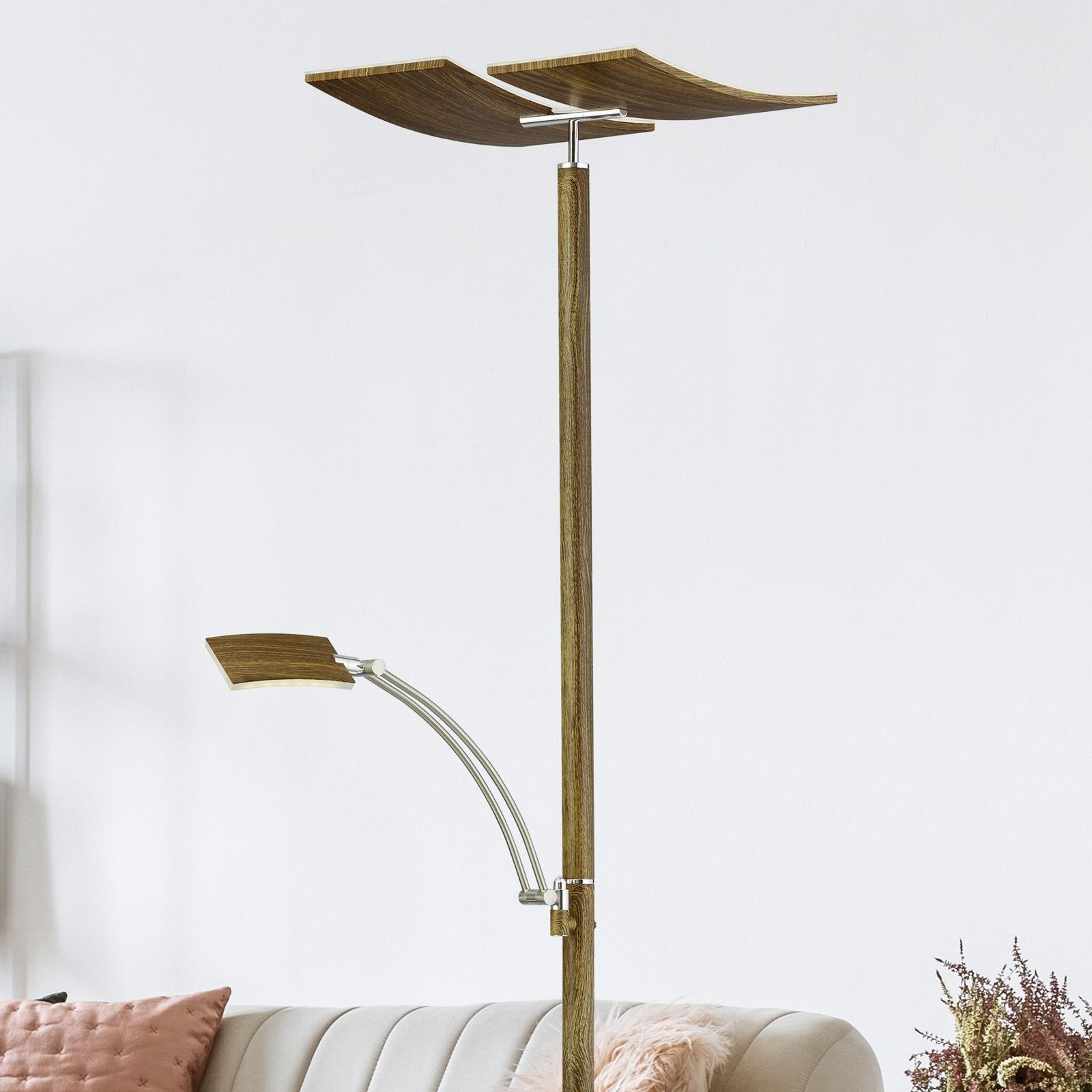 B-Leuchten Duo LED-golvlampa med dimmer, trä