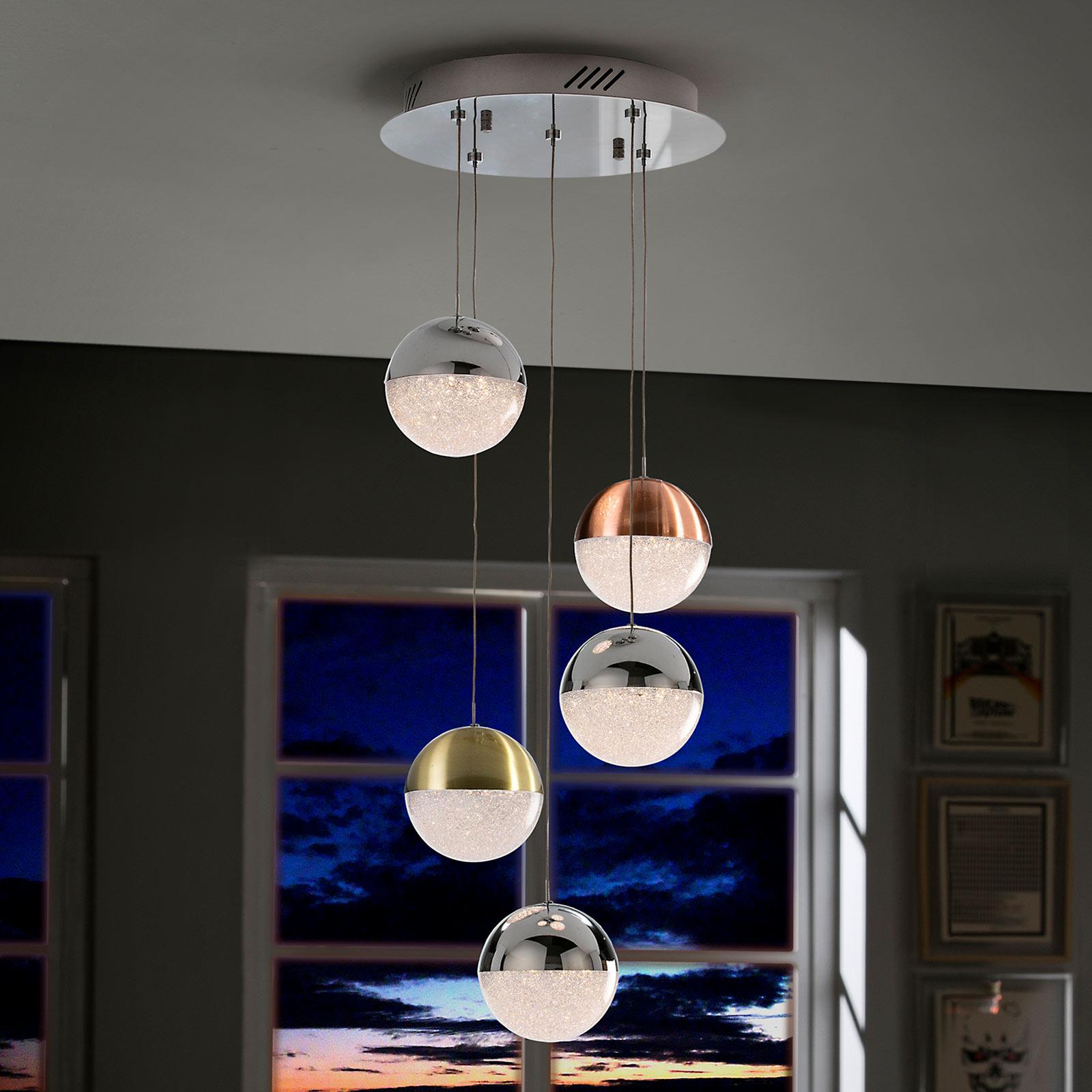 LED-hengelampe Sphere, flerfarget, 5 lyskilder