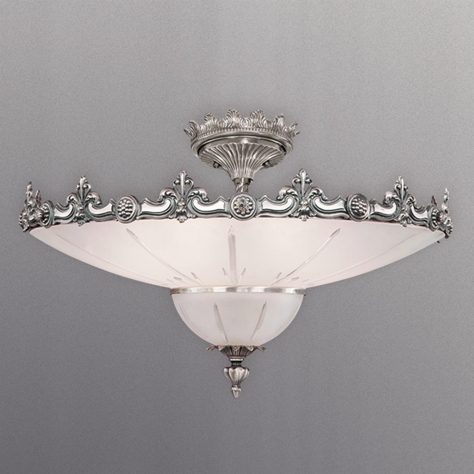 Sølvdekoreret loftslampe Stephanie