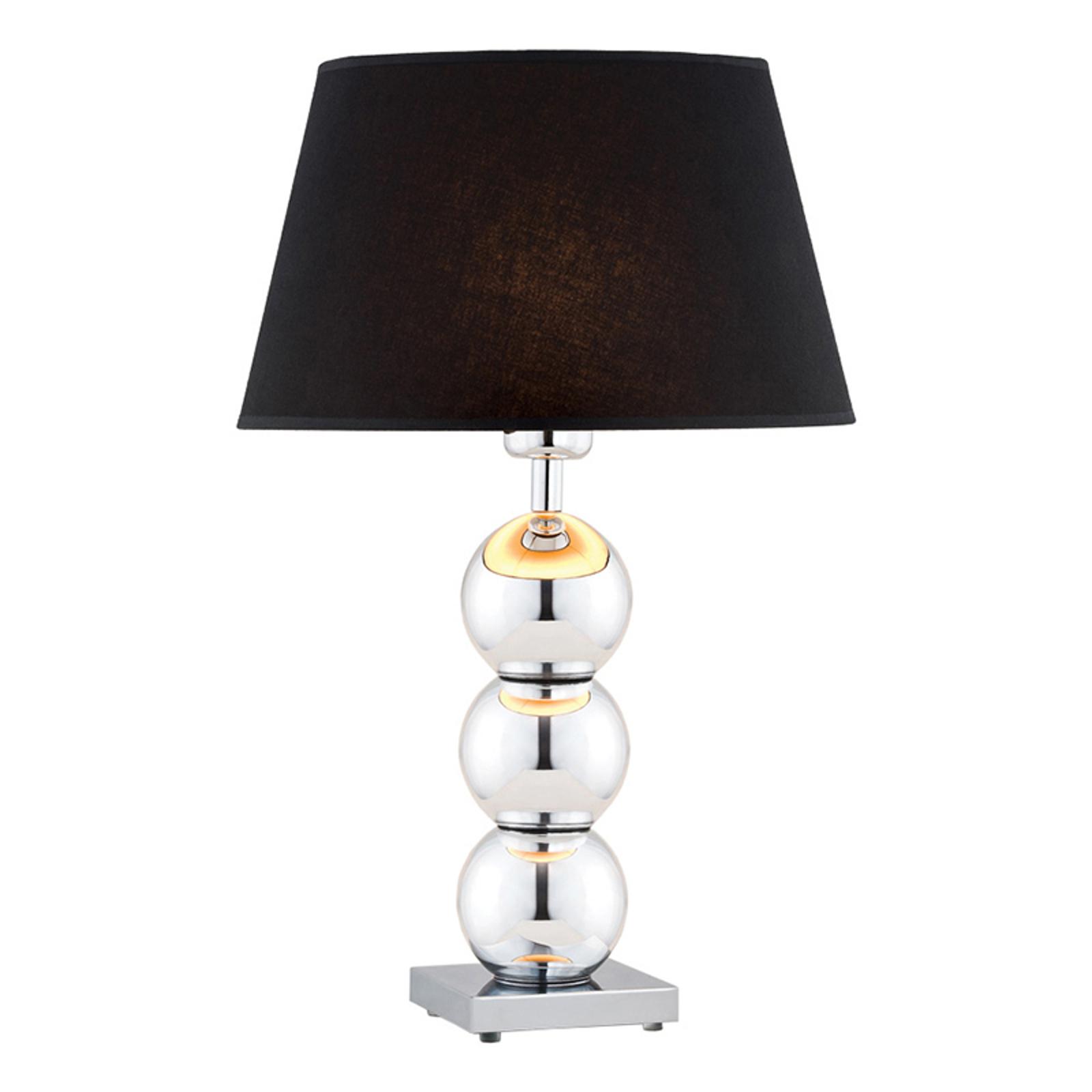 Tekstil-bordlampe Fulda, svart skjerm, kromfot