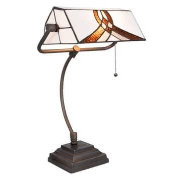Bureaulamp 5195 met wit-bruine glazen kap