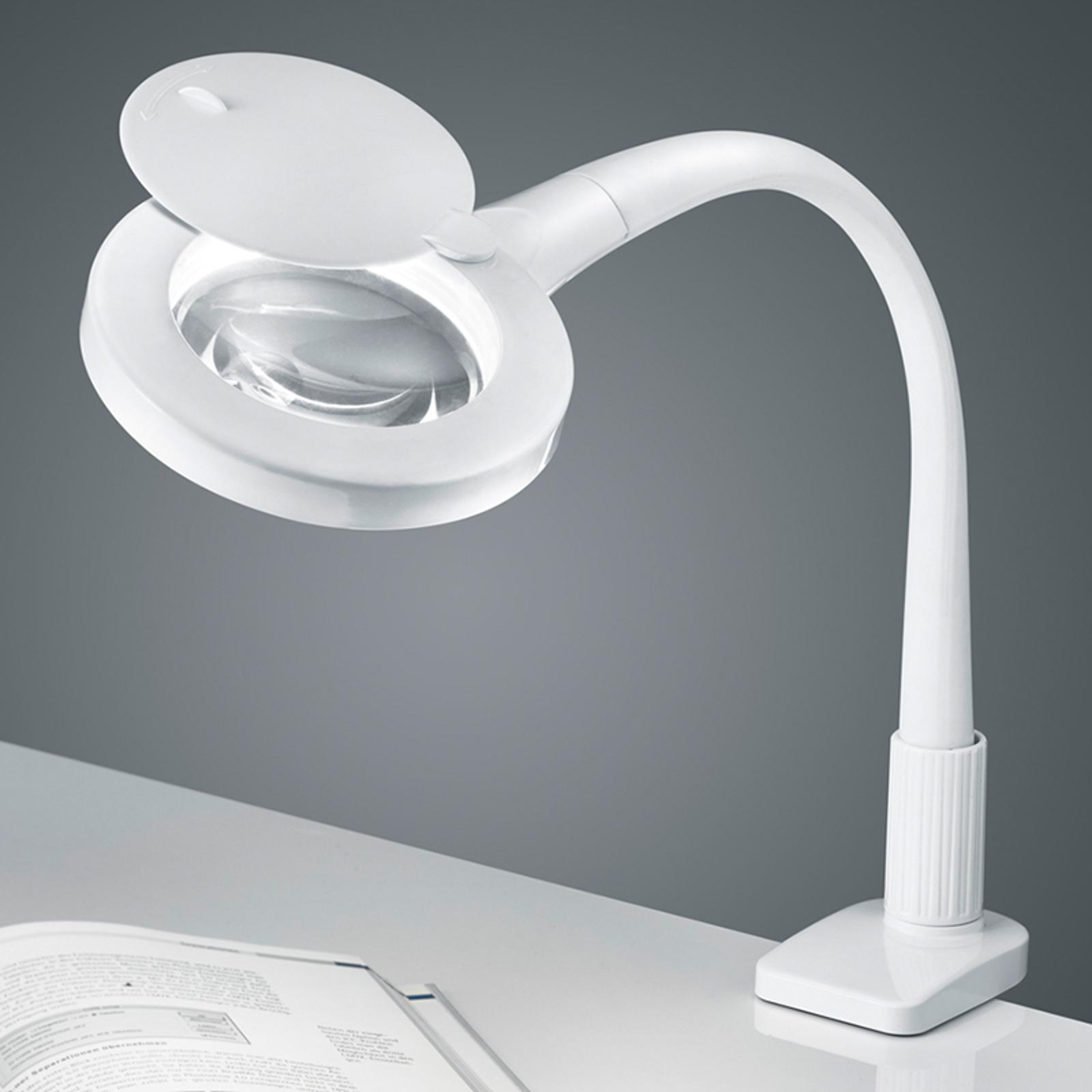 I vitt - LED-förstoringsglas-klämlampan Lupo