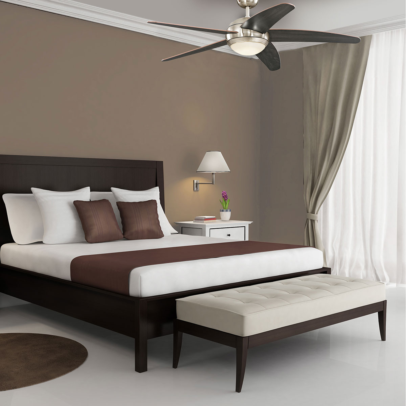 Ventilateur de plafond LED Bendan, pales en wengé