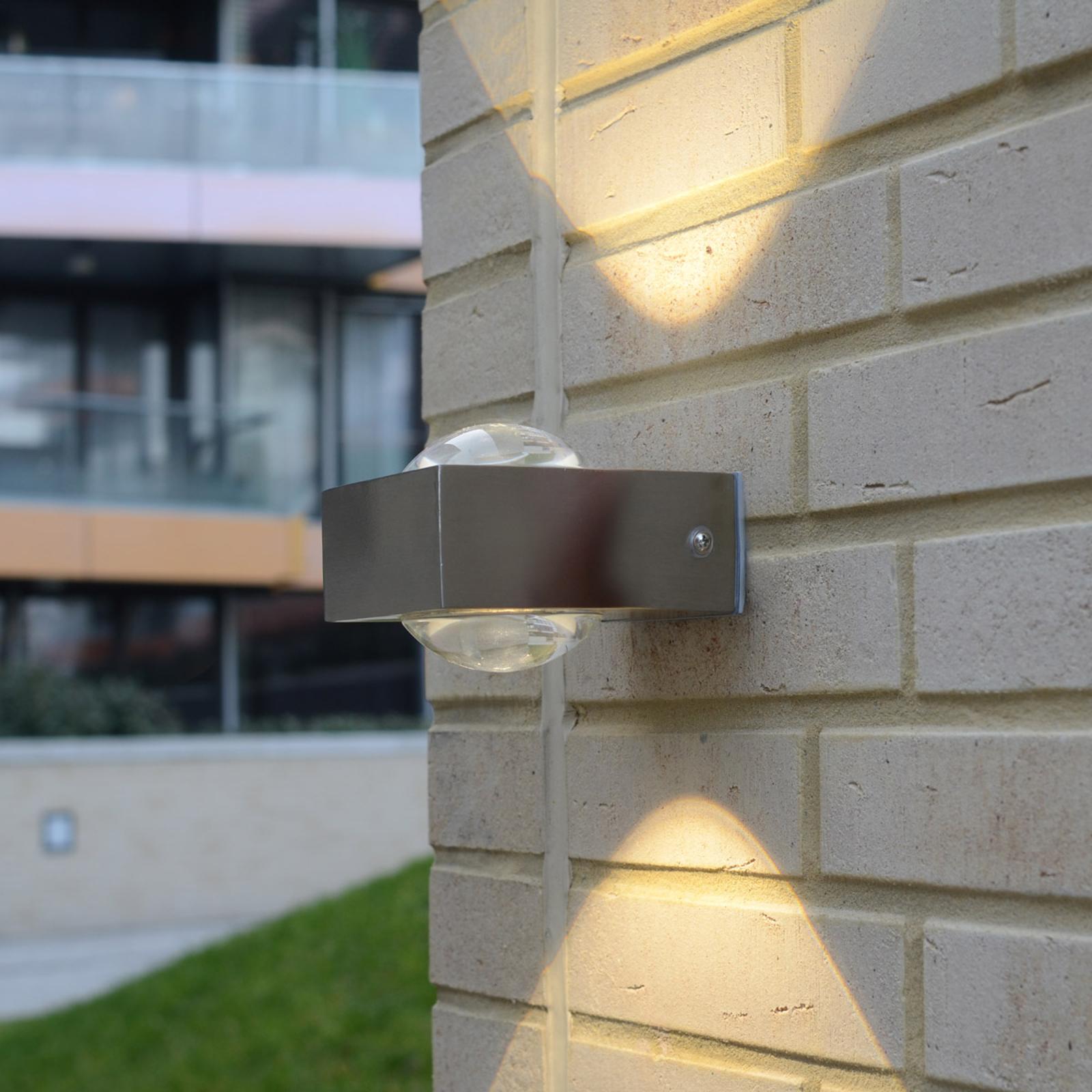 Utendørs LED-vegglampe Crystal rustfritt stål