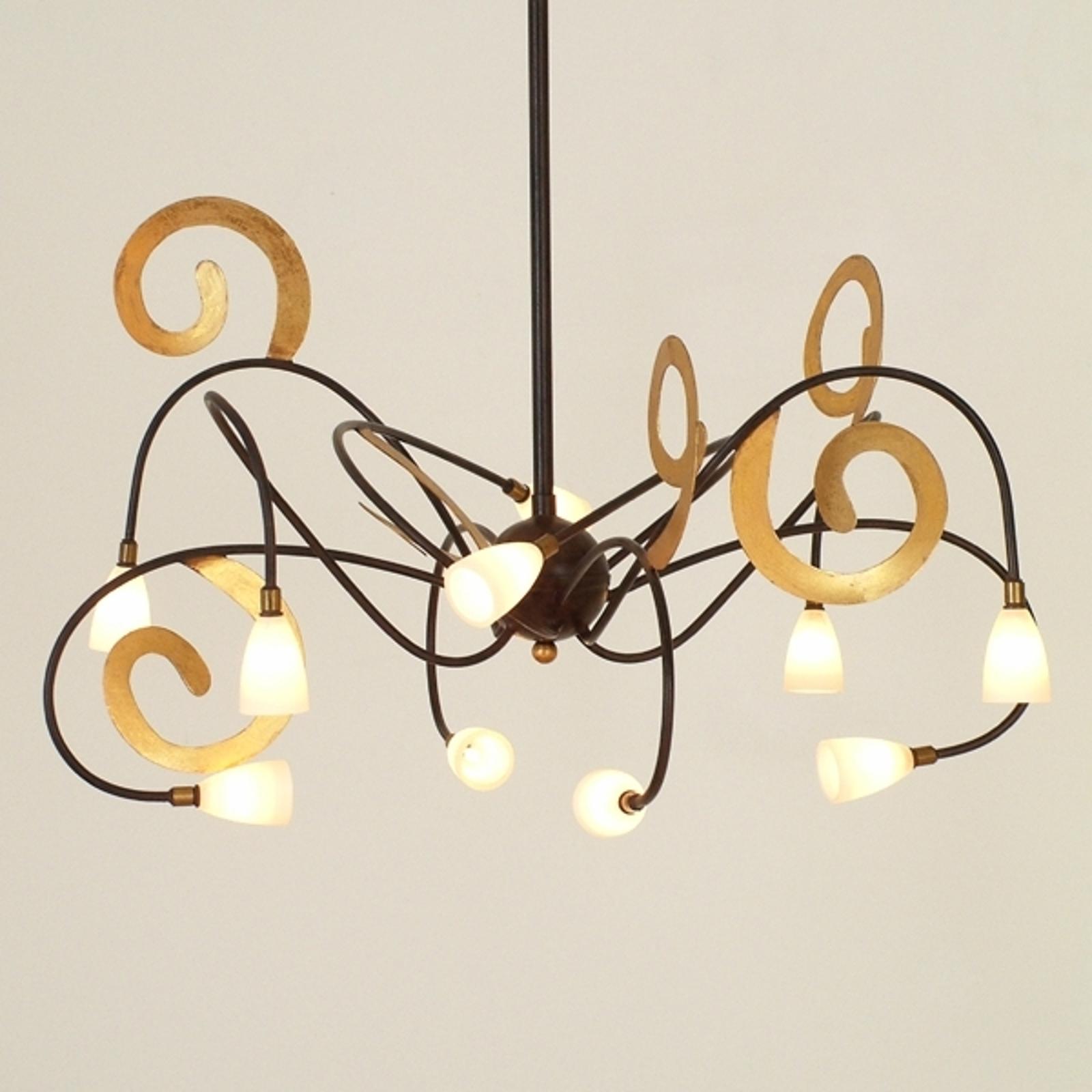 Lampa wisząca LED Lunapark, brązowo-złota