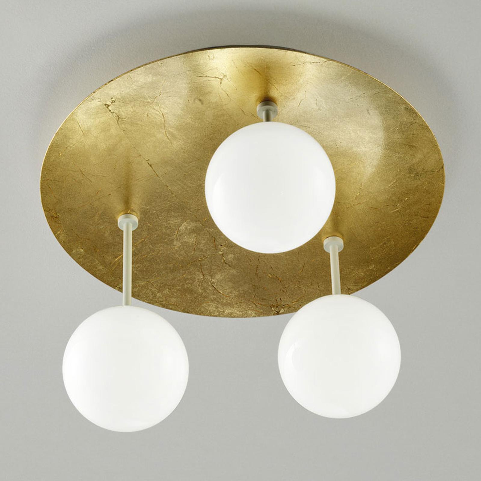 Sfera – pozłacana lampa sufitowa LED