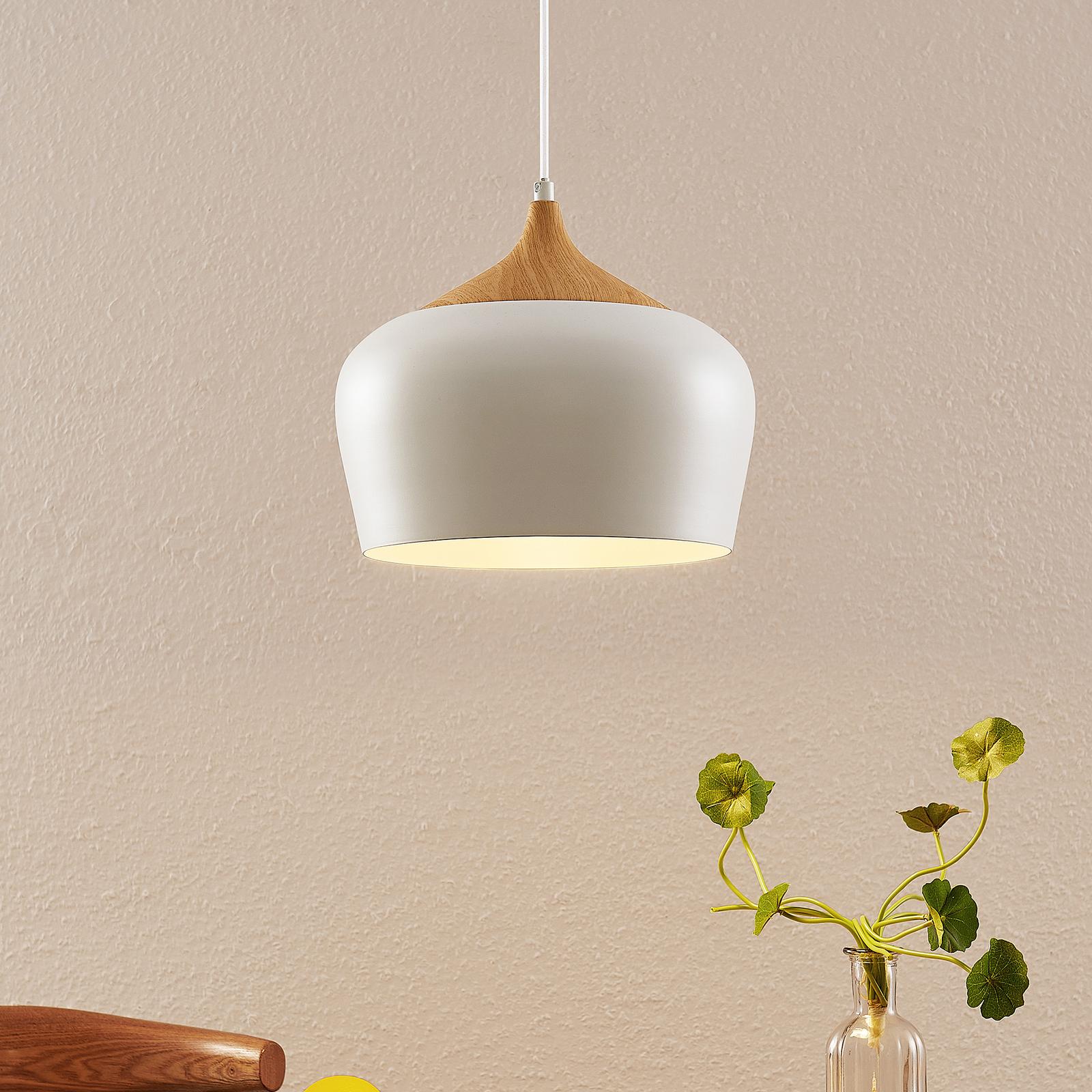 Lindby Vilsera suspension en blanc détail en bois