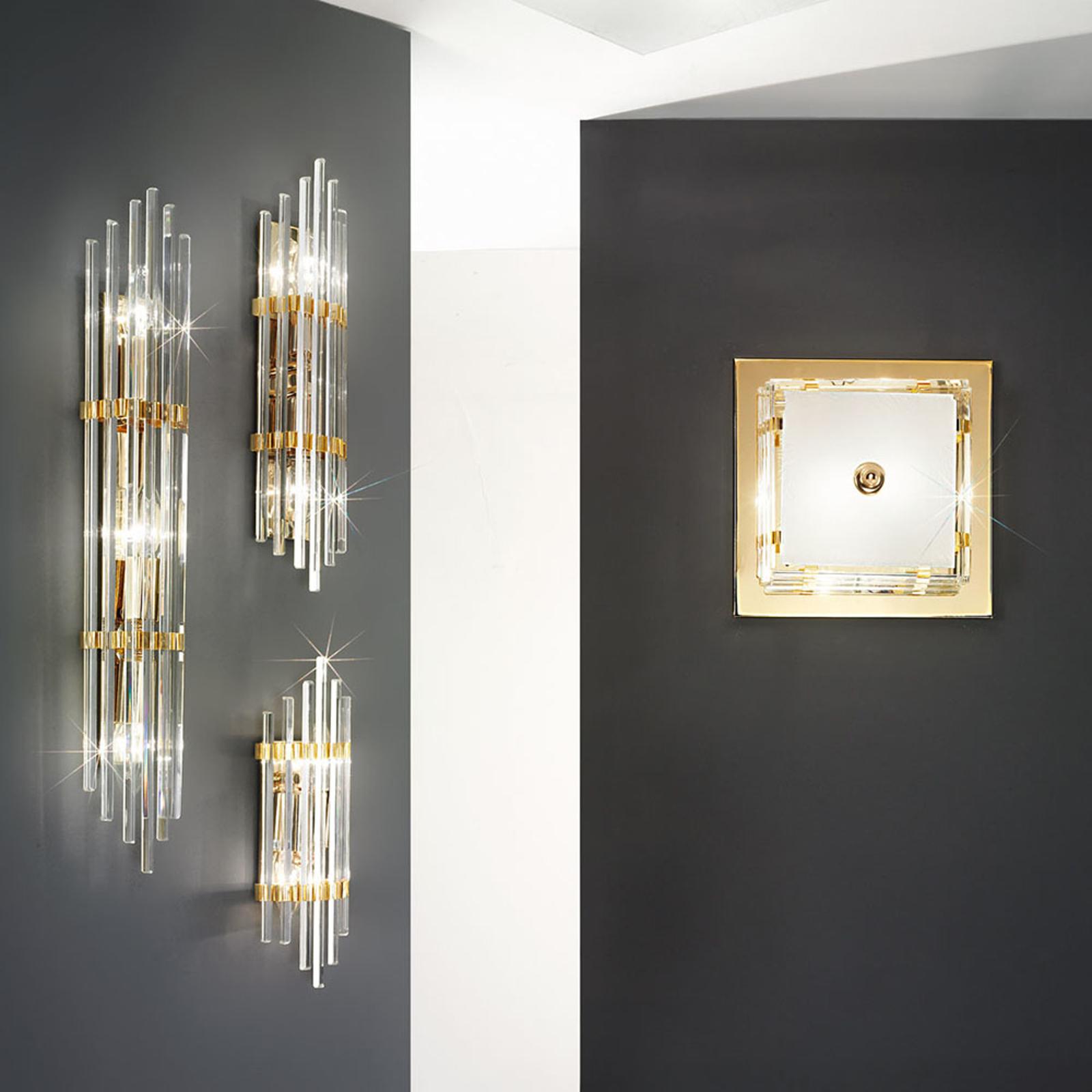 Wandlamp Ontario, hoogte 31 cm, goud, vierkant