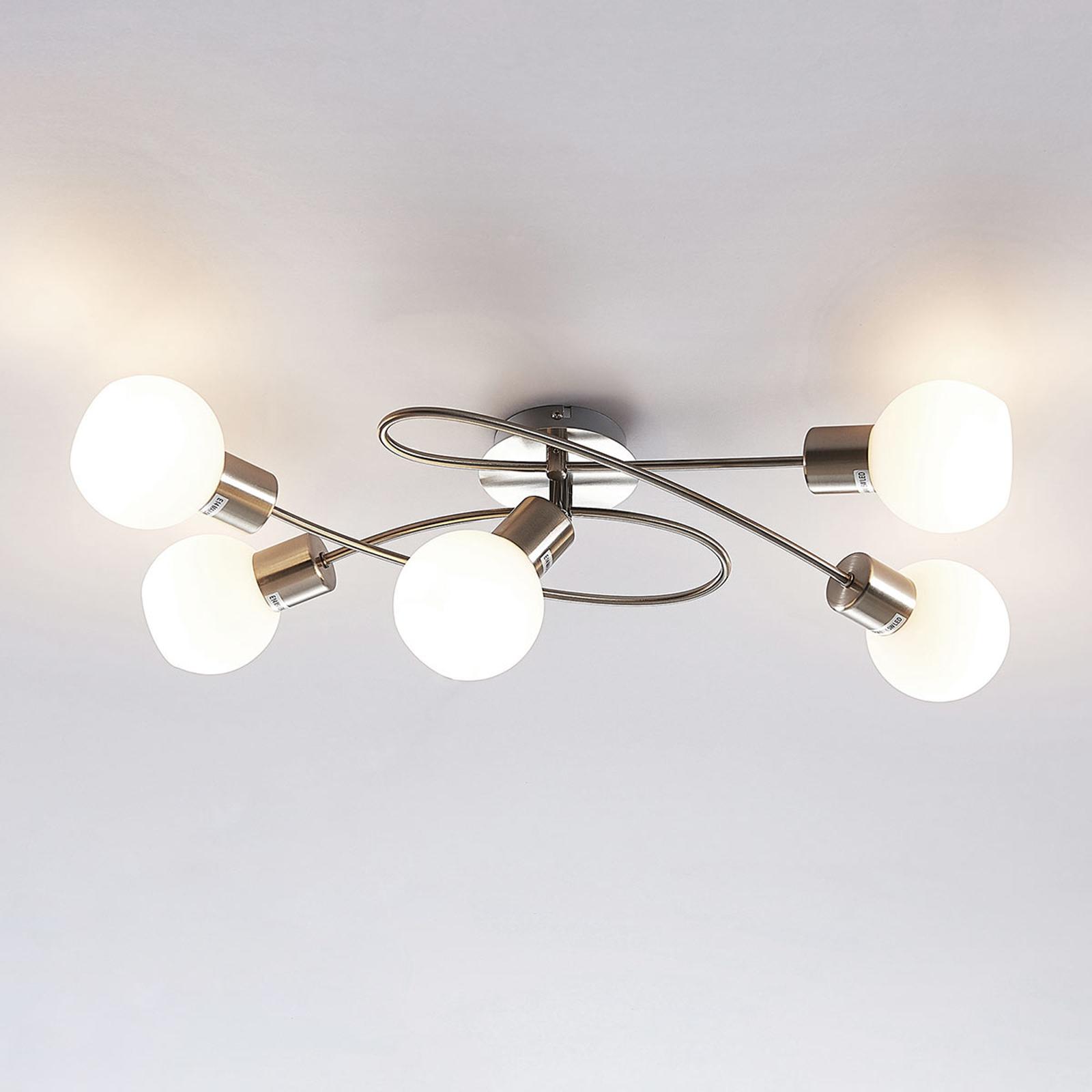 Vakker LED-taklampe Elaina, 5 punkt, matt nikkel.