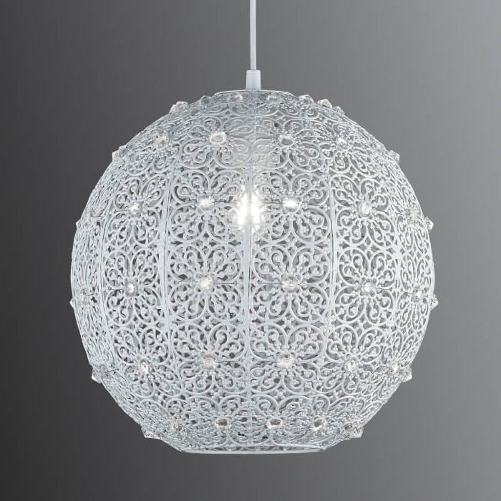 Biała, metalowa lampa wisząca Bajo z kryształkami