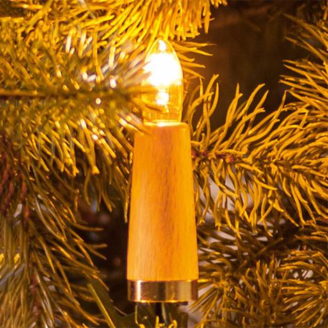 Cadena de luces a velas estriadas, 20 luces