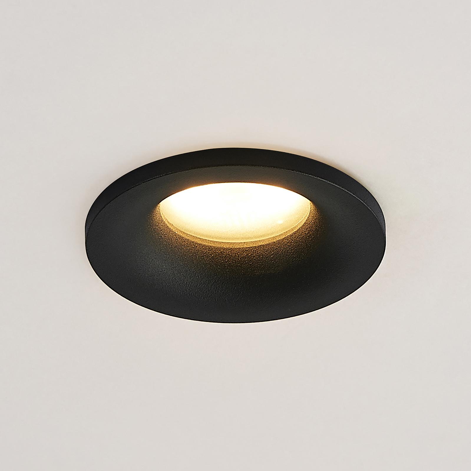 Arcchio Enia indbygningslampe, rund, sort