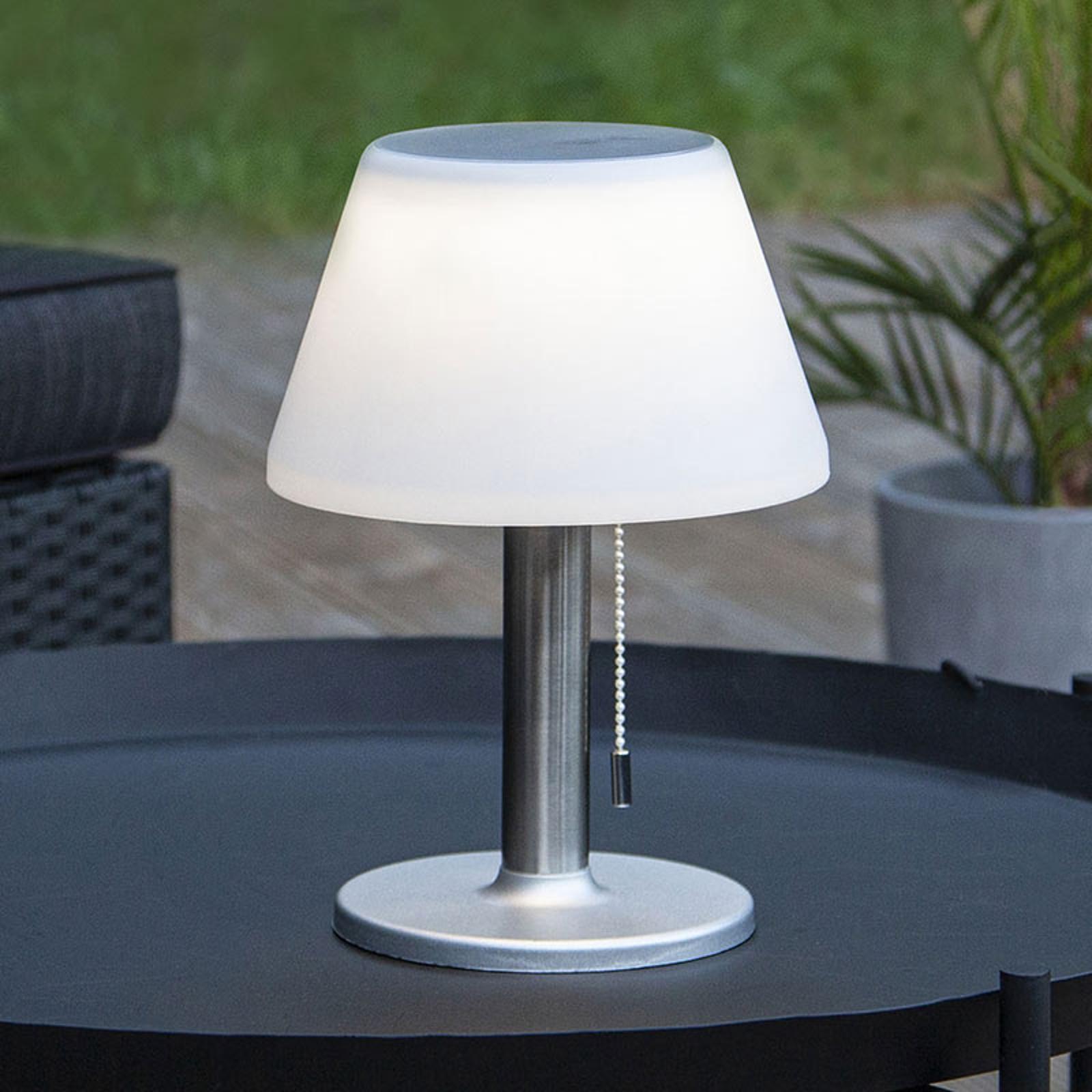LED solární stolní lampa Solia s tahovým vypínačem