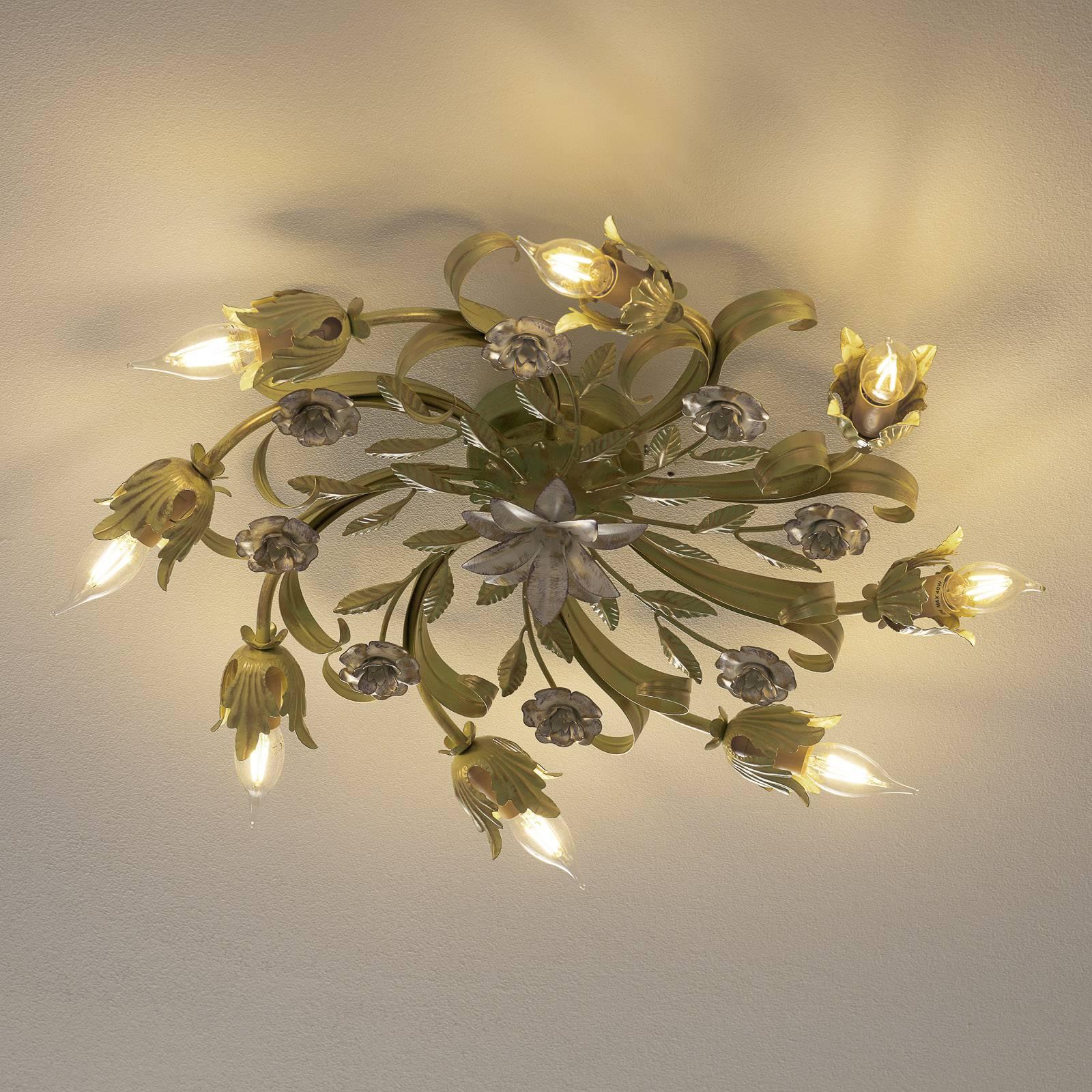 Florentijnse plafondlamp Tulipe, 8-lamps rond