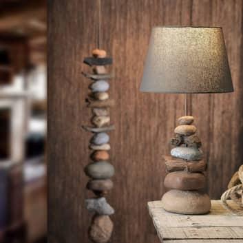 Bordslampa Vera, tygskärm och stendekor, 55 cm