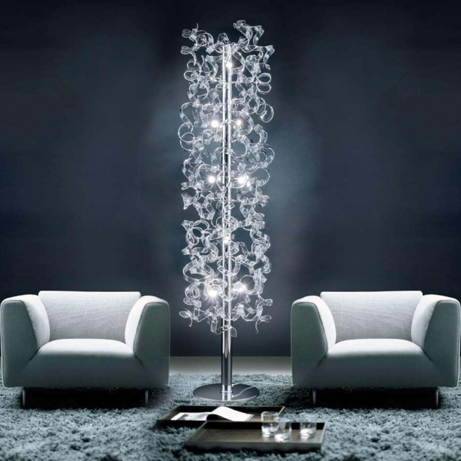Vloerlamp Crystal met bewerkte staaf