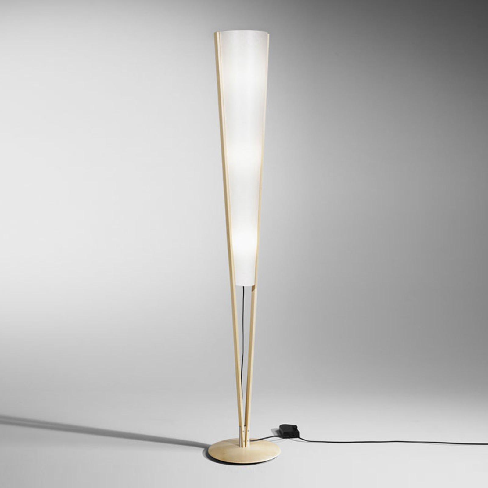 Lampa stojąca Seba ze ściemniaczem nożnym, buk