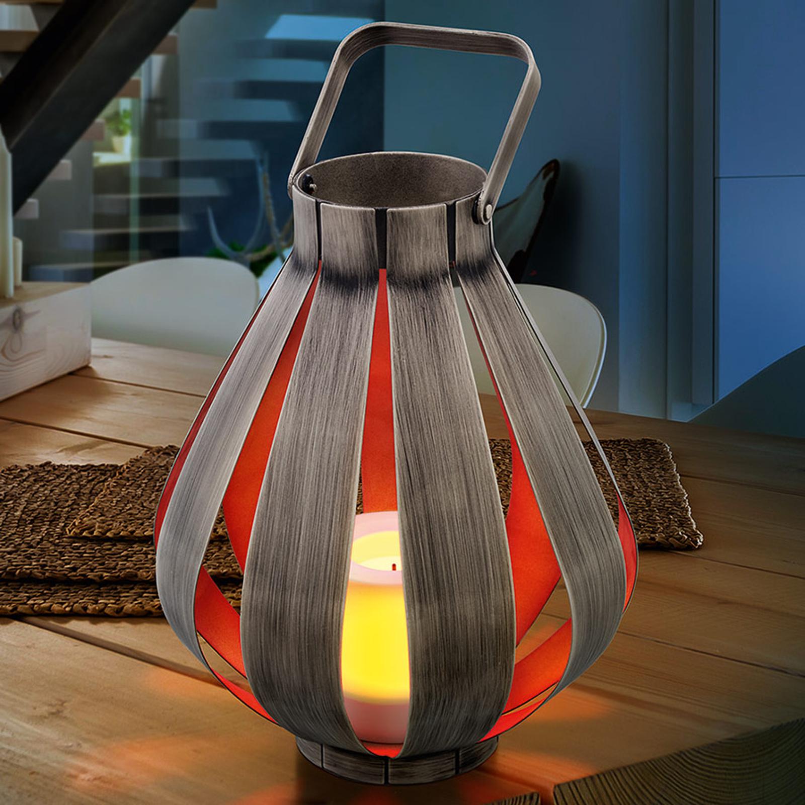 Dekorativní lampa Svenja z kovu v dřevěném designu
