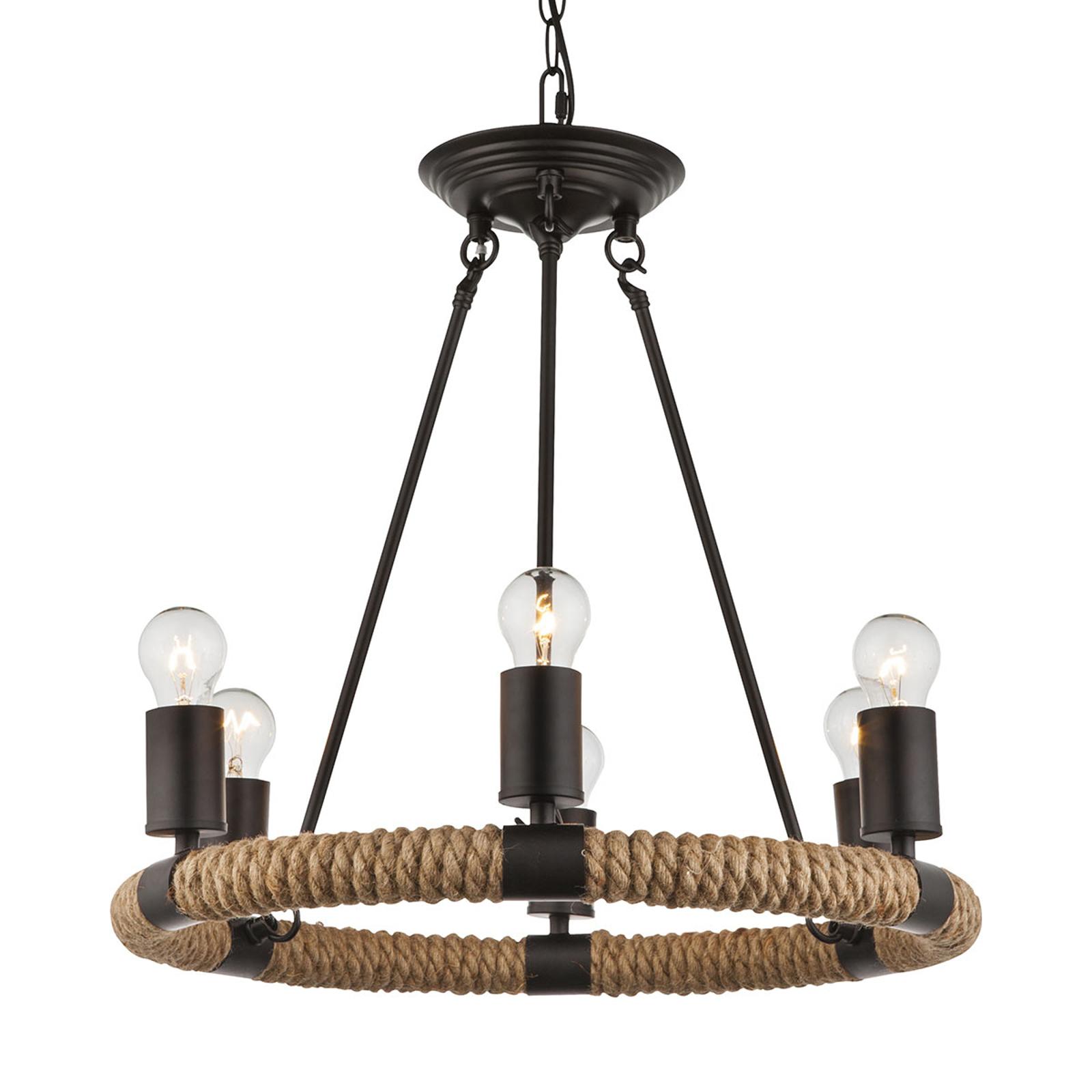 Rund LED-taklampa Ulleu med hamparep 6 lampor
