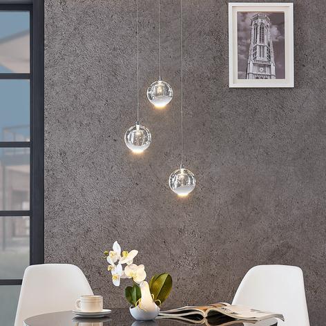 LED-pendellampe Hayley med glaskugler, 3 lys, krom