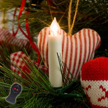 LED kerstboomkaarsen wit op batterijen, 10 lampen