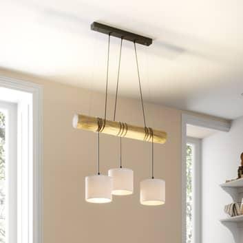 Sacide hængelampe, træbjælke, tre tekstilskærme