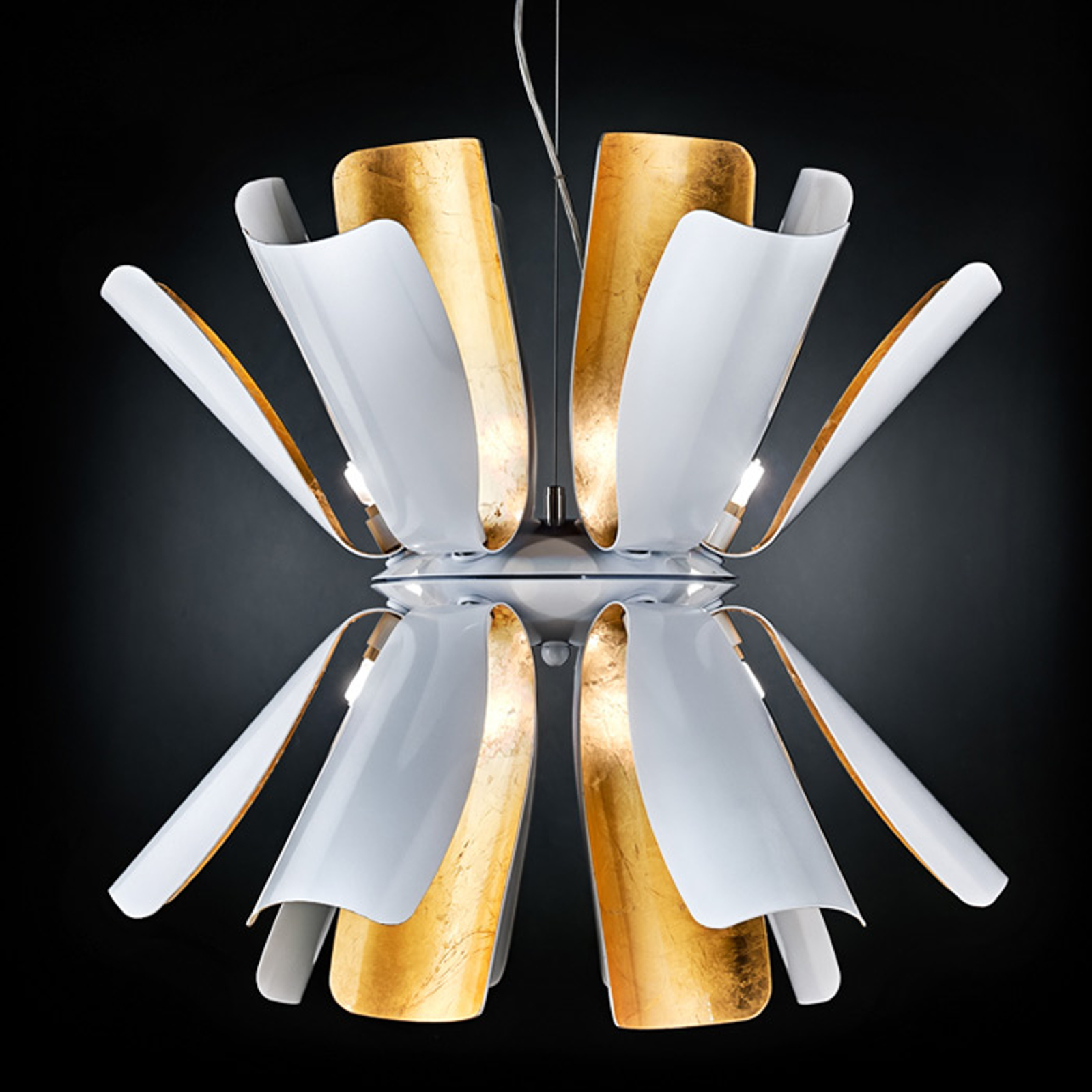 Lampa wisząca Tropic 60 cm biała/płatkowe złoto