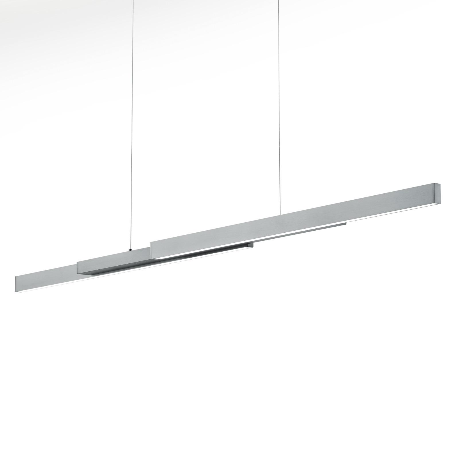 Suspension LED Lara, 134cm, extensible, nickel