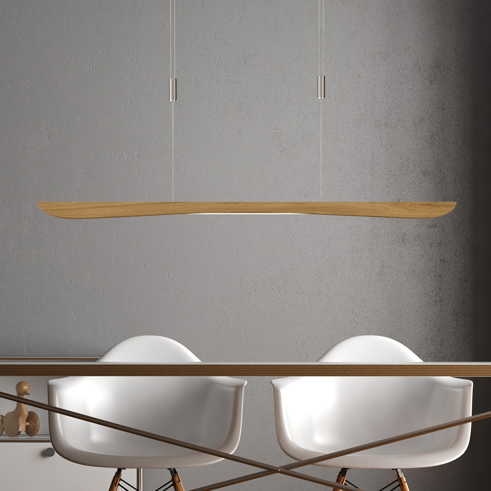 Lucande Hiba LED hanglamp, eiken naturel, 118 cm