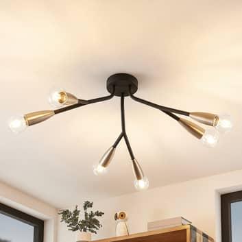 Lucande Carlea plafonnier, 6 lampes noir-nickel