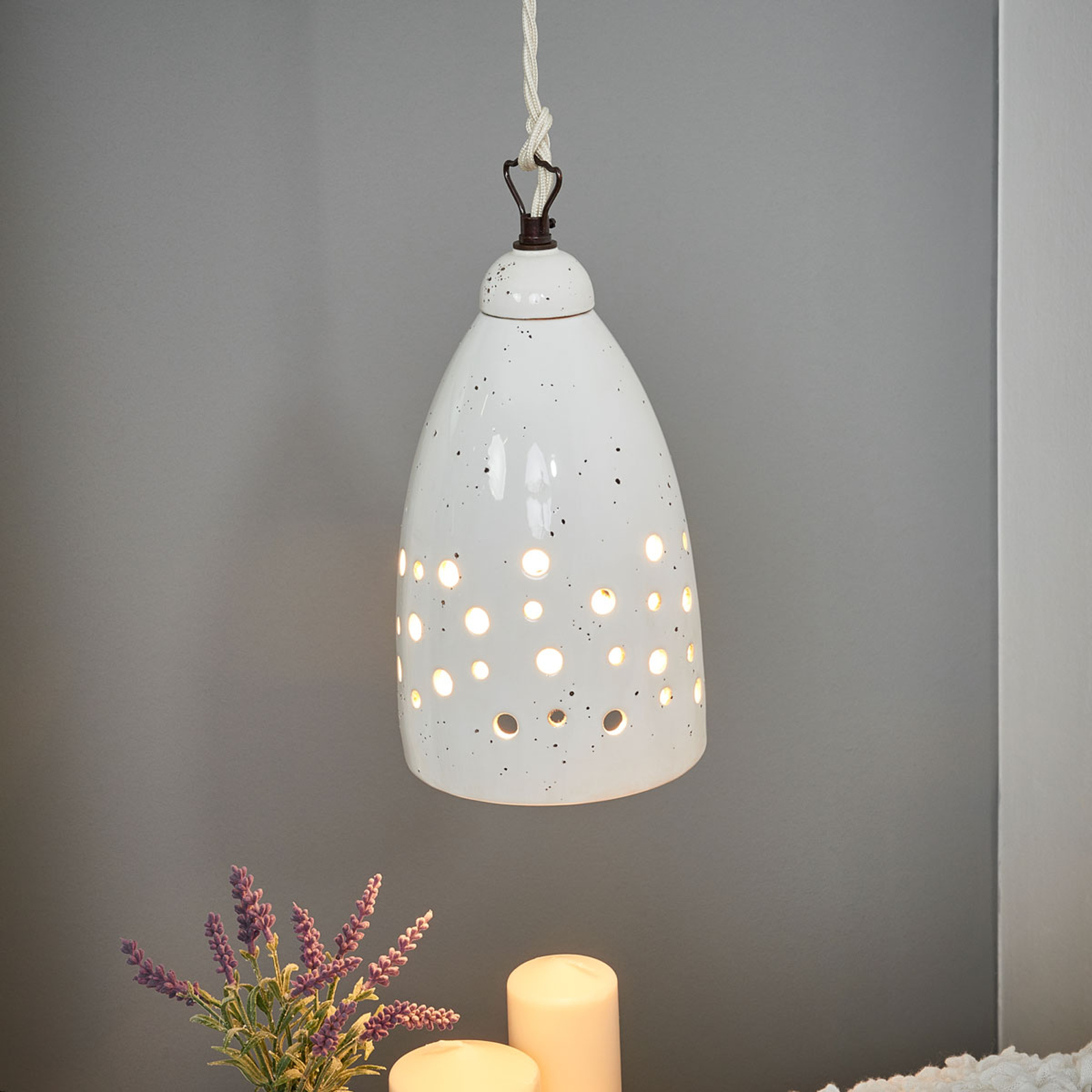 Keramiek-hanglamp Gisella, wit, bruine stippen