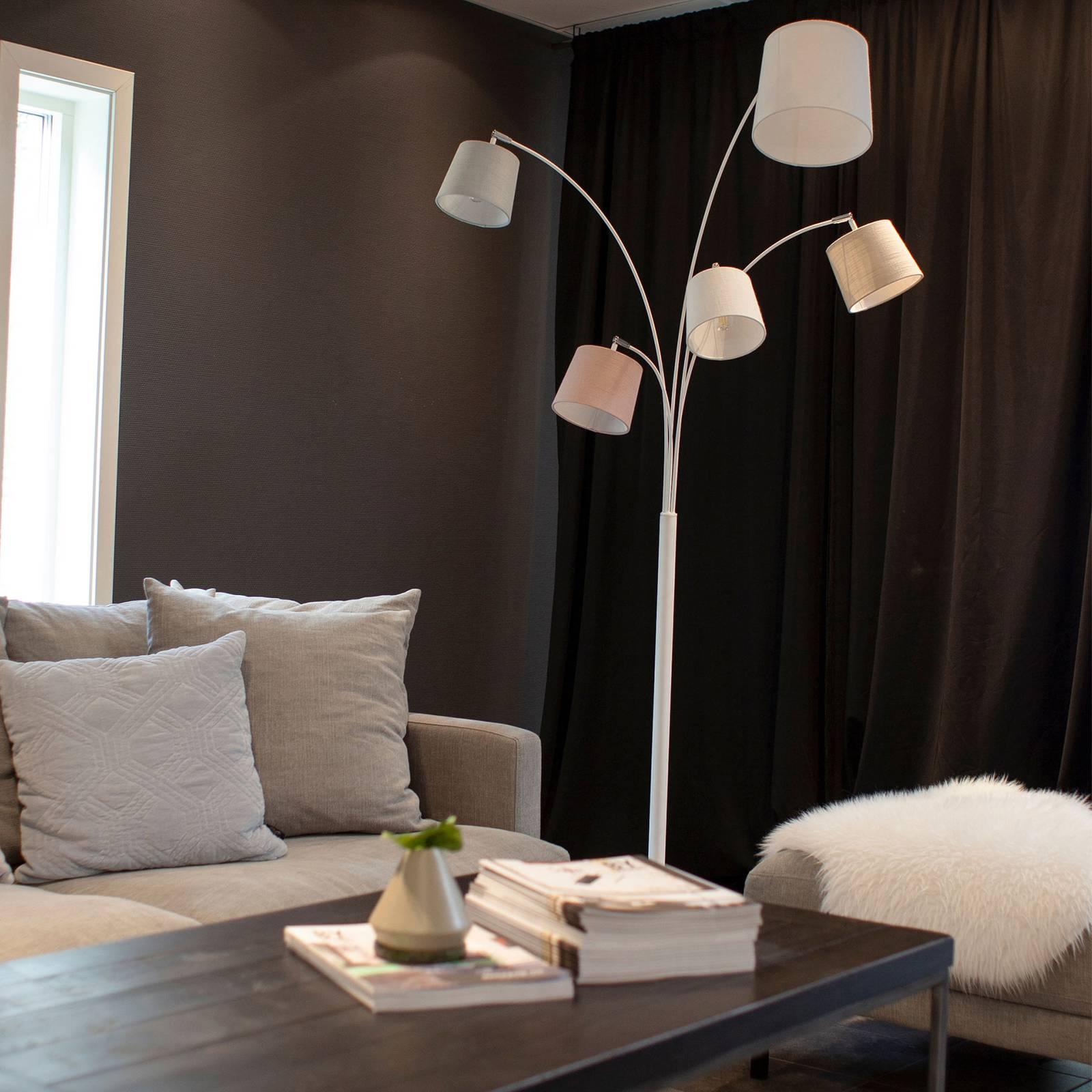By Rydéns Foggy vloerlamp, vijf kappen, wit