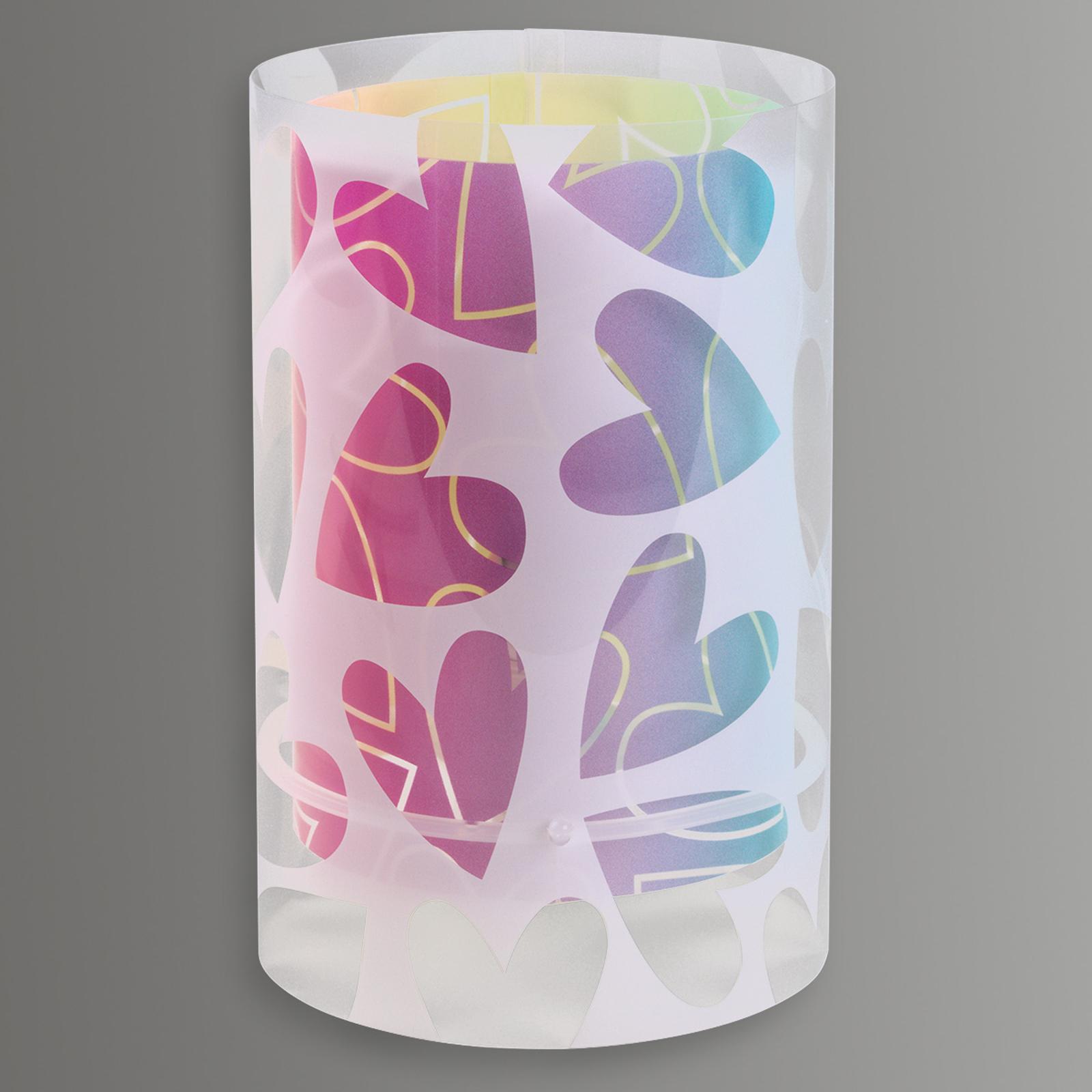 Cuore - bordlampe dekorert med hjerter