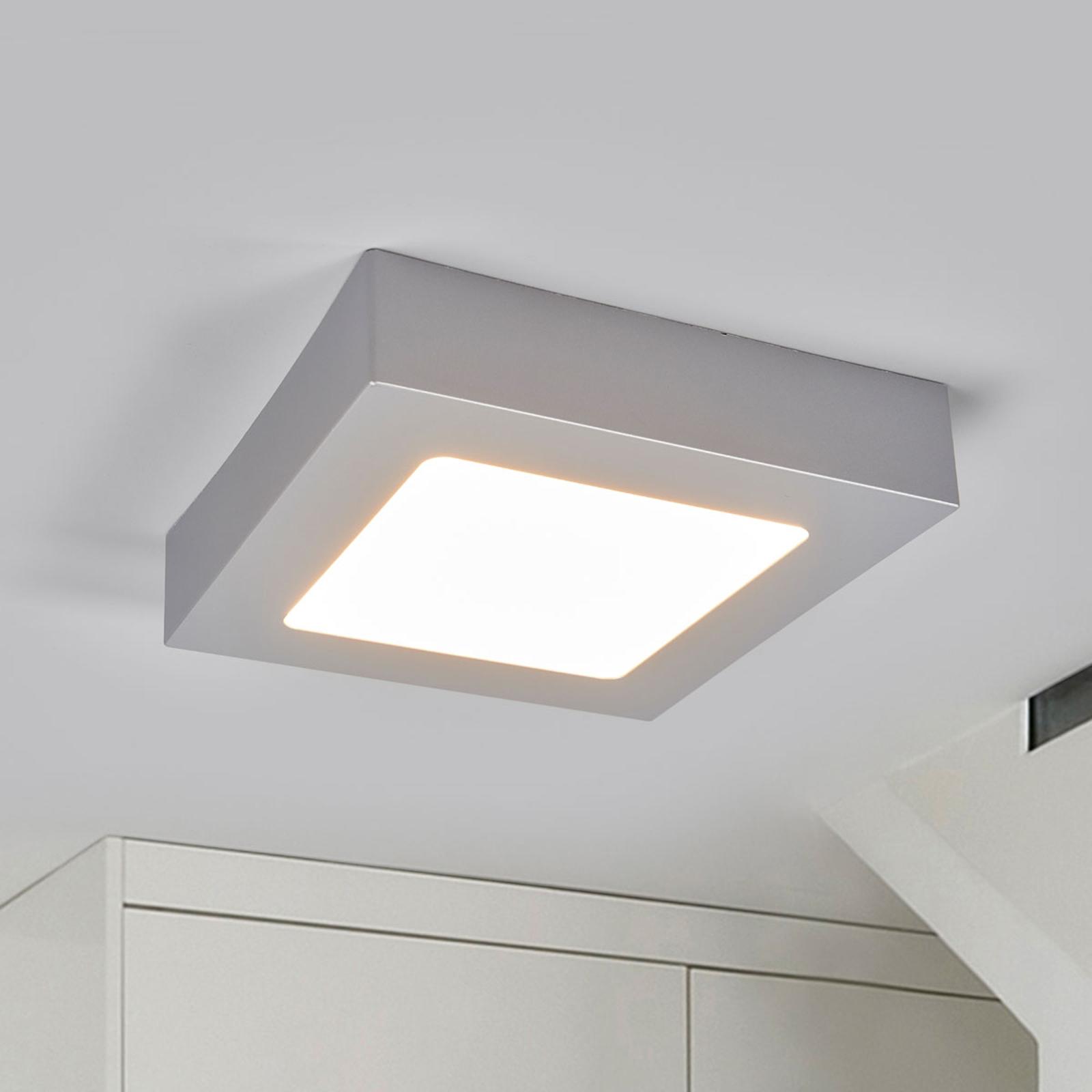 Marlo LED-loftlampe sølv 3000K kantet 18,1cm