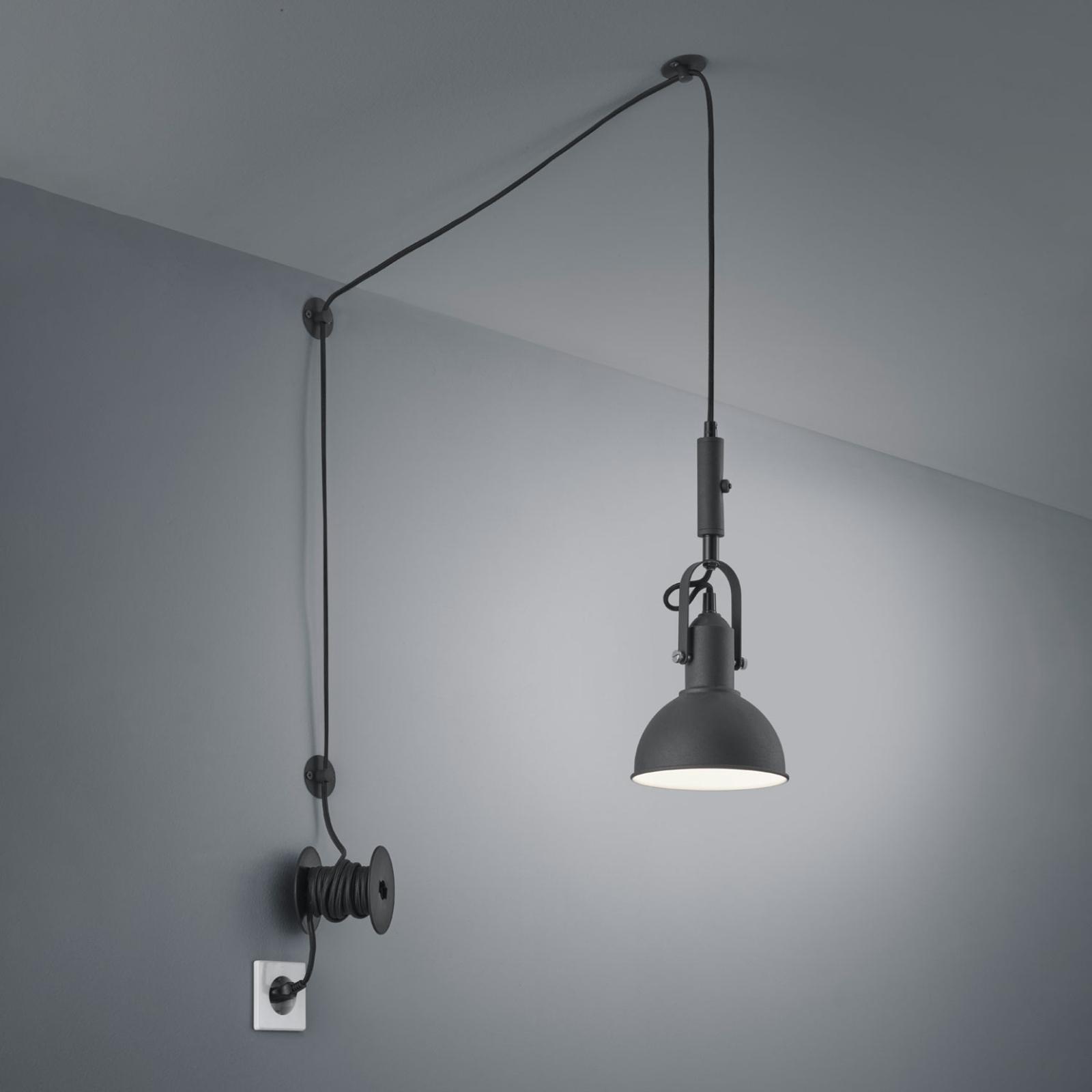 Lampa wisząca Carlotta z wtyczką, czarna