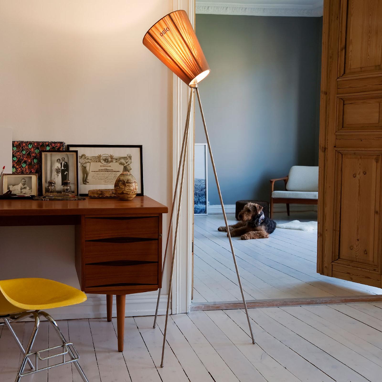 Northern Oslo Wood vloerlamp staal/beige