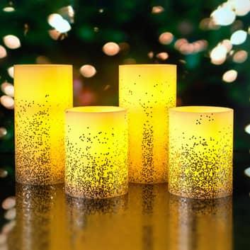 Pauleen Golden Glitter Candle vela LED set 2 ud