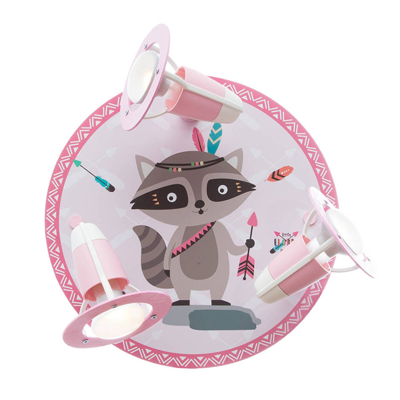 Plafondlamp Little Indians, Wasbeer Oskar, roze