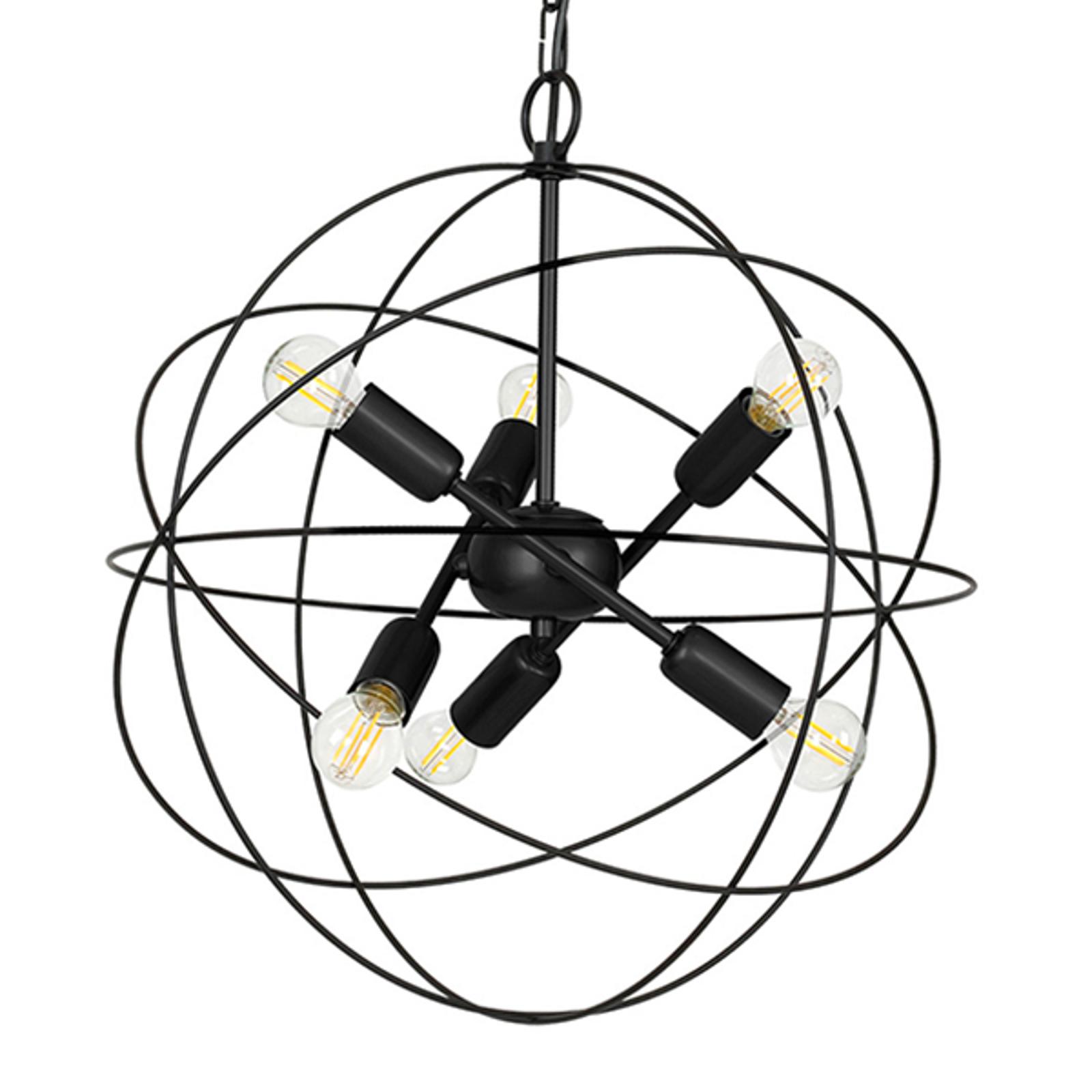 Hängeleuchte Copernicus, sechsflammig schwarz