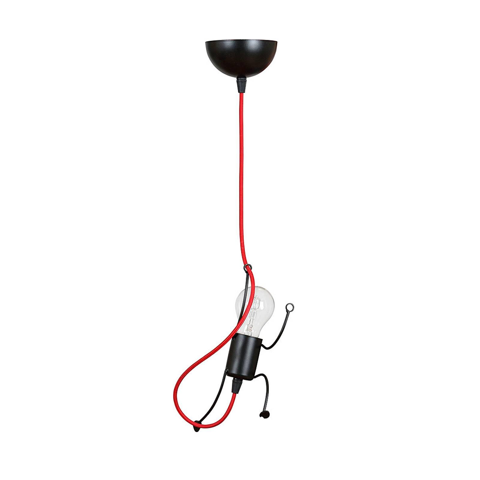 Hängeleuchte Bobi 1 in Schwarz, Kabel rot, 1-fl.